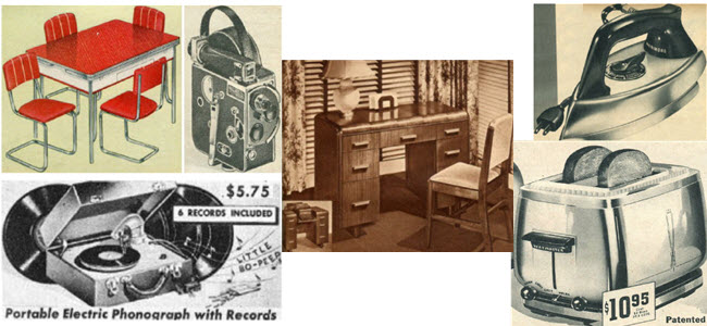 A few examples of furniture and appliances found for sale before and after World War II