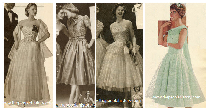 1950s Teenage Girls Formal and Prom Dress Wear Examples