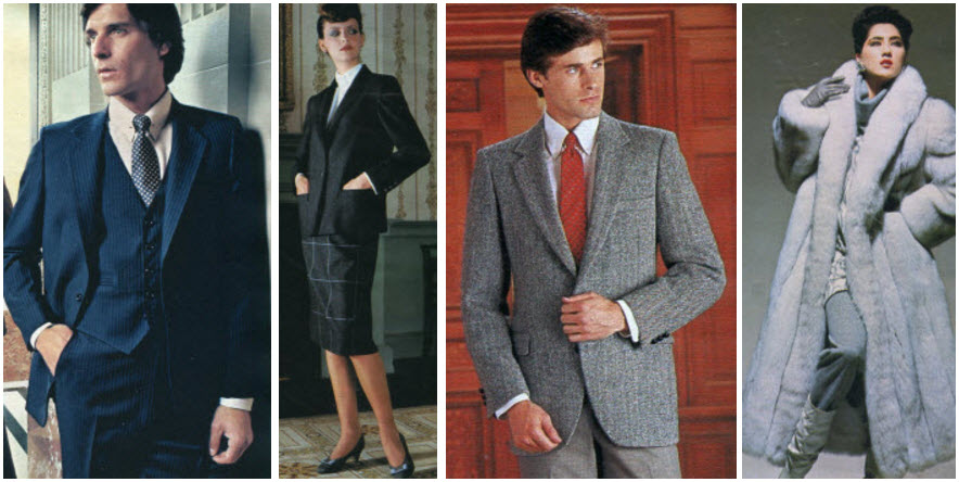 1980's Blue Fox Coat, Tweed Sport Coat, Flannel Blazer and Skirt, Pinstripe Suit Eighties Fashion Examples