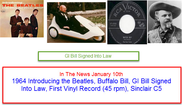 In The News January 10th 1964 Introducing the Beatles, Buffalo Bill, GI Bill Signed Into Law, First Vinyl Record (45 rpm), Sinclair C5