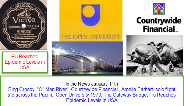 In the News January 11th Bing Crosby  Ol' Man River, Countrywide Financial , Amelia Earhart  solo flight trip across the Pacific, Open University 1973, The Gateway Bridge, Flu Reaches Epidemic Levels in USA