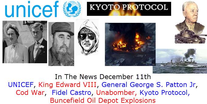 In The News December 11th Nobel Prizes, Czar Nicholas, Robert the Bruce, Santa Claus,  Boeing 707, The Grateful Dead, Otis Redding, Bishop Desmond Tutu