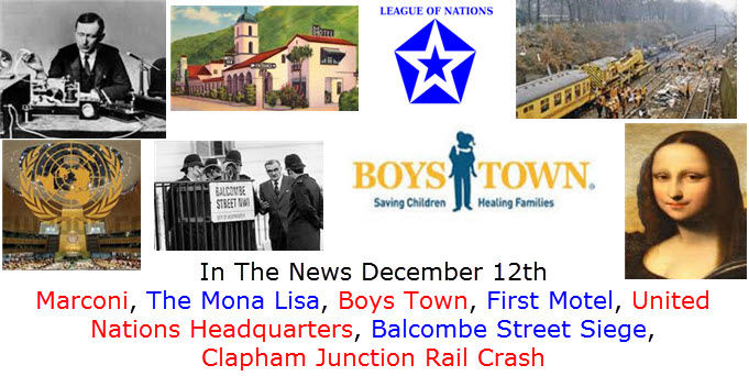 In The News December 12th Nobel Prizes, Czar Nicholas, Robert the Bruce, Santa Claus,  Boeing 707, The Grateful Dead, Otis Redding, Bishop Desmond Tutu