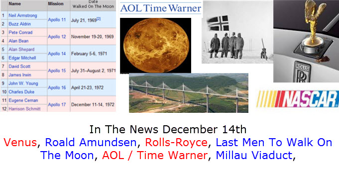 In The News December 14th Venus, Roald Amundsen, Rolls-Royce, Last Men To Walk On The Moon, AOL / Time Warner, Millau Viaduct,