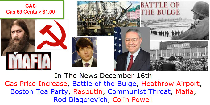 In The News December 16th Glenn Miller, United Nations, silver bridge collapse, John Paul Getty III, Leaning Tower of Pisa, Lockheed Martin F-35,