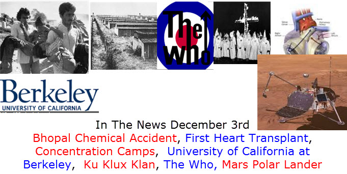 In The News December 3rd Bhopal Chemical Accident, First Heart Transplant, Concentration Camps,  University of California at Berkeley,  Ku Klux Klan, The Who, Mars Polar Lander