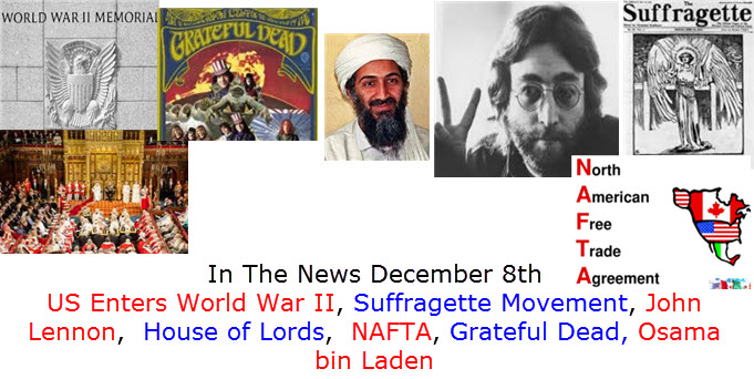 In The News December 8th John Lennon Shot, North American Free Trade Agreement US Joins World War II, Suffragette Movement, House Of Lords