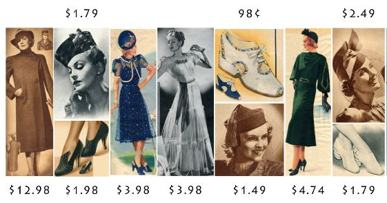 Few examples of ladies fashion from the 30's