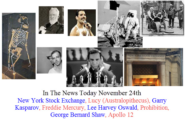 November 24th In The News New York Stock Exchange, Lucy (Australopithecus), Garry Kasparov, Freddie Mercury, Lee Harvey Oswald, Prohibition, George Bernard Shaw, Apollo 12