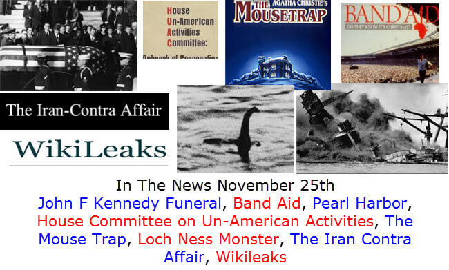In The News November 25th John F Kennedy Funeral, Band Aid, Pearl Harbor, House Committee on Un-American Activities, The Mouse Trap, Loch Ness Monster, The Iran Contra Affair, Wikileaks