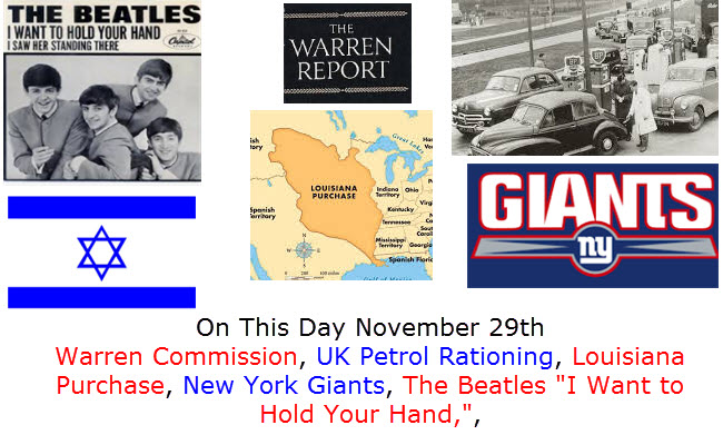 On This Day November 29th Warren Commission, UK Petrol Rationing, Louisiana Purchase, New York Giants, The Beatles I Want to Hold Your Hand,