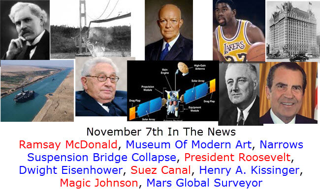 November 7th In The News Ramsay McDonald, Museum Of Modern Art, Narrows Suspension Bridge Collapse, President Roosevelt, Dwight Eisenhower, Suez Canal, Henry A. Kissinger, Magic Johnson, Mars Global Surveyor