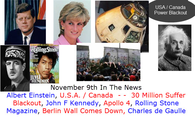 November 9th In The News Albert Einstein, U.S.A. / Canada  - -  30 Million Suffer Blackout, John F Kennedy, Apollo 4, Rolling Stone Magazine, Berlin Wall Comes Down, Charles de Gaulle