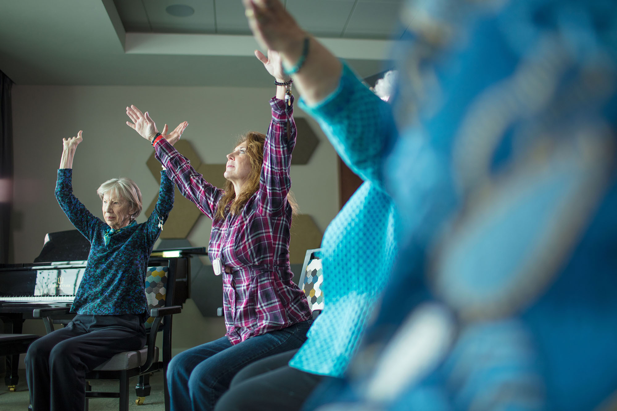Residents in a yoga class