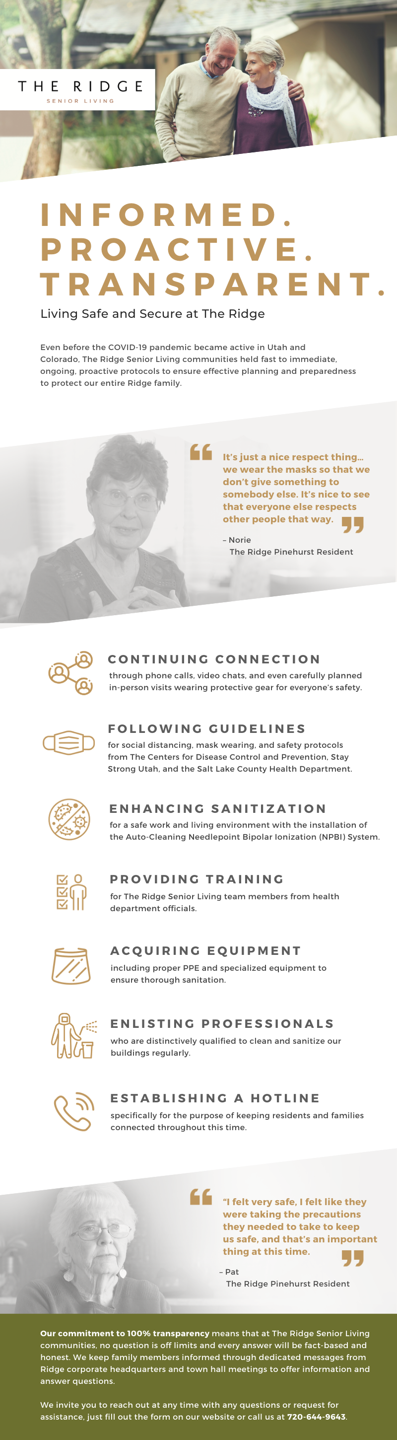 An infographic on how The Ridge communities prioritize safety