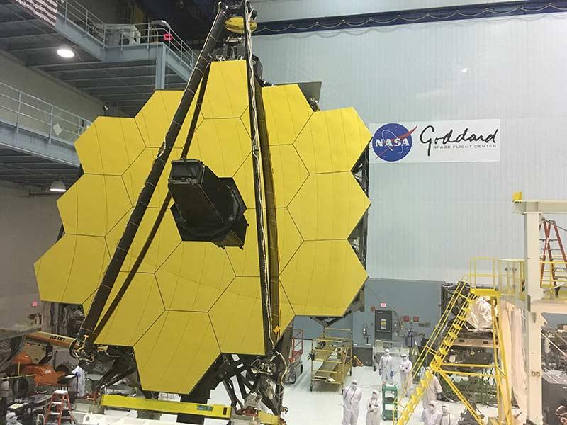 The 6.3 meters mirror of the James Webb Space Telescope during its assembly