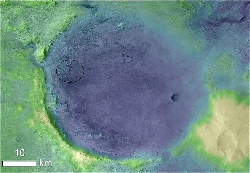 Detail of the Jezero Crater with the indication of the landing site of Perseverance. Credits NASA