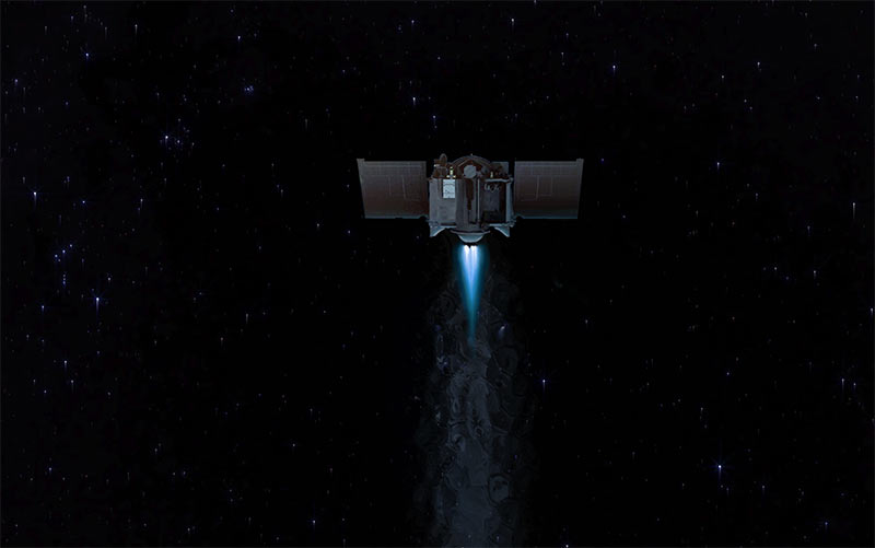 An illustration of the OSIRIS-REX spacecraft taking off from Bennu and starting its return journey to the Earth. CreditsNASA/Goddard/University of Arizona