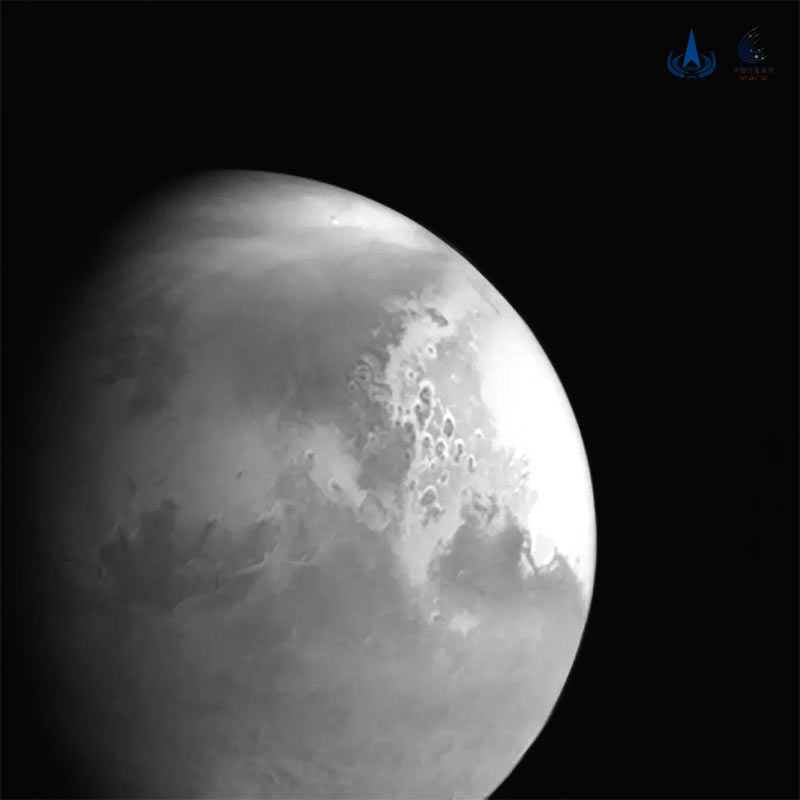 The first image of Mars sent back by the Tianwen-1 orbiter a few days before entering the orbit of the Red Planet. Credits: CASC/CNSA