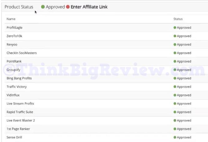 Affiliate Approval Status Screen