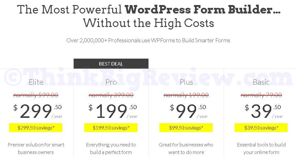 WPForms Pricing