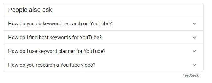 People also ask section within Google search results