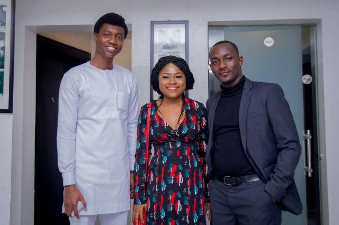 Kingsley Iweka, Susan Ubochi and Hertz Fauzan, of Discomfort Creative at a meet and greet held recently in Lagos.