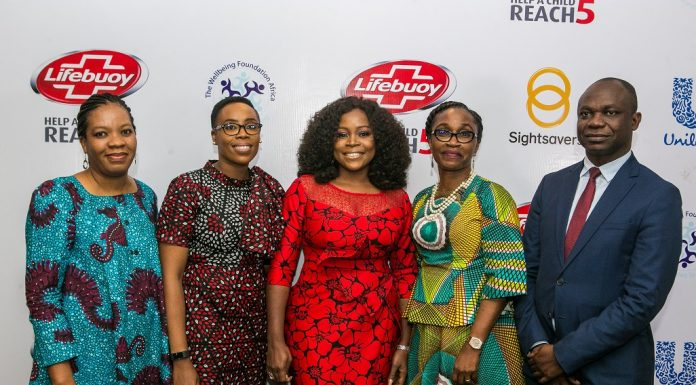 L-r: CEO, Wellbeing Foundation Africa, Amy Oyekunle; Category Manager Skin Cleansing, UNILEVER Nigeria plc, Osato Evbuomwan; Brand Ambassador, Lifebuoy, Omawumi Magbele; Director, Corporate Affairs, UNILEVER Nigeria plc, Soromidayo George and Country Director, Sightsavers, Dr. Sunday Isiyaku at the relaunch of lifebuoy anti-bacterial soap in Lagos recently