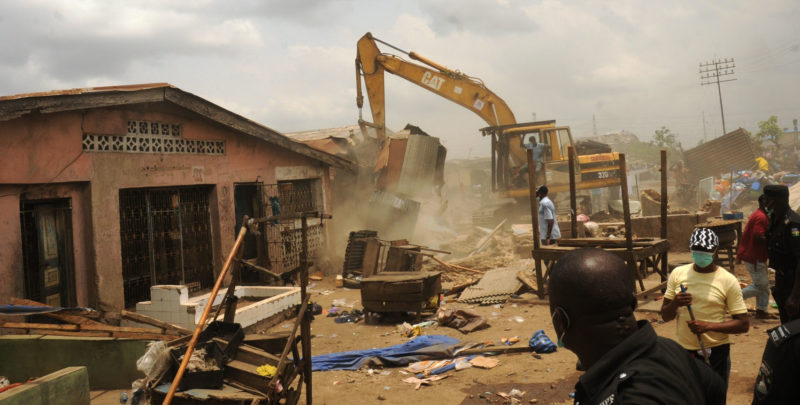 Image result for images of Lagos Government Demolishes Illegal Structures In Lekki