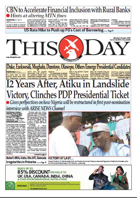 Thisday newspaper nigeria