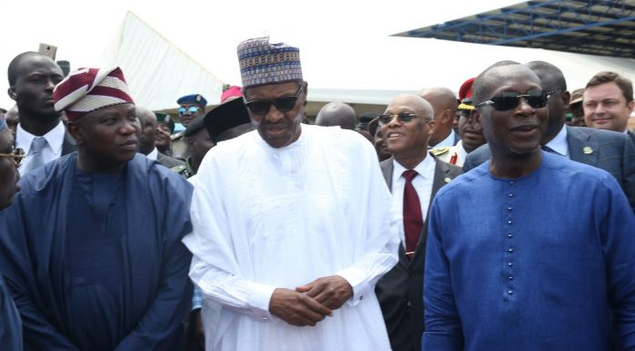 President Muhammadu Buhari (middle), with his Republic of Benin counterpart, President Patrice Talon (right) and Governor Akinwunmi Ambode during the official handing over of the ECOWAS Border Post at Seme-Krake in Badagy, Lagos…Tuesd (1).jpg