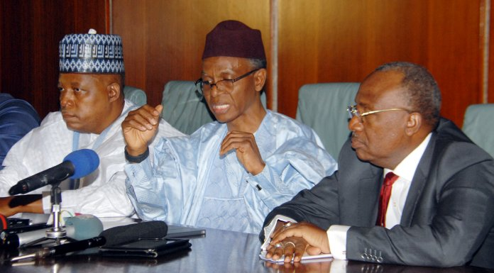 L–R , Governor Kashim Shettima of Borno state; Governor Nasir El-Rufai of Kaduna state and Governor Bindow Jibrilla Adamawa state at the security briefing shortly after the meeting with President Muhammadu Buhari at the Presidenttial Villa, Abuja ….Tuesday Photo: Godwin Omoigui