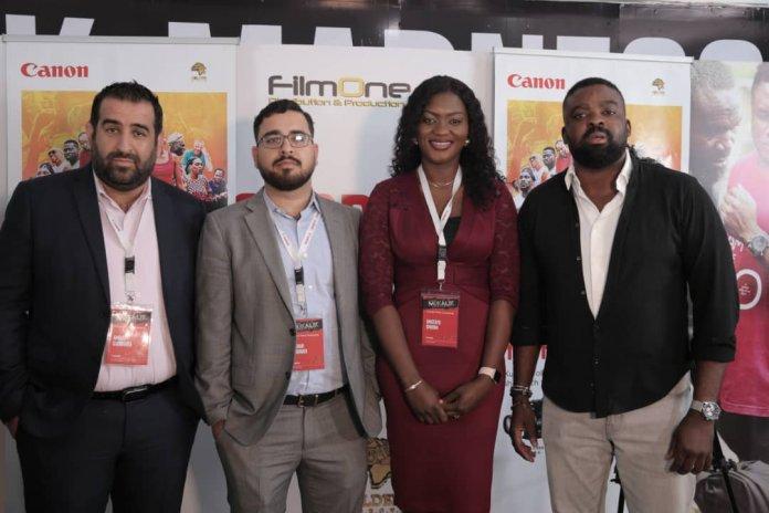 L-R: Amine Djouahra, Senior Sales & Marketing Manager - B2C, Canon CNA; Tushar Vashnavi, Senior Sales Manager - B2C, Canon CNA; Omotayo Omodia, Country Manager, Canon Nigeria; and Kunle Afolayan, award-winning Nigerian filmmaker and CEO, Golden Effects Pictures