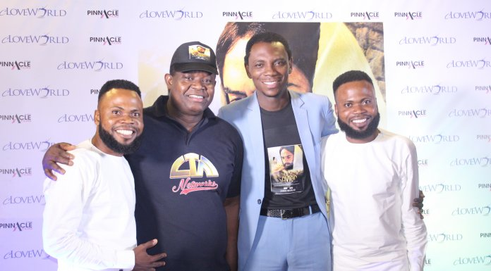 Pastors-Sunday-Akebor-and-David-Aleogena-middle-and-Gospel-music-duo-Taiwo-and-Kehinde-Eshanomi-a.k.a-T.A.K-at-The-Savior-Movie-premiere-at-Silverbird-Cinemas-Ikeja.