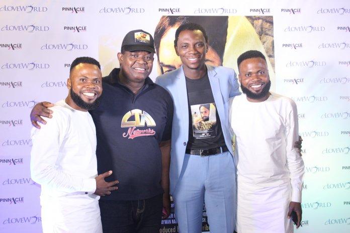 Pastors-Sunday-Akebor-and-David-Aleogena-middle-and-Gospel-music-duo-Taiwo-and-Kehinde-Eshanomi-a.k.a-T.A.K-at-The-Savior-Movie-premiere-at-Silverbird-Cinemas-Ikeja.