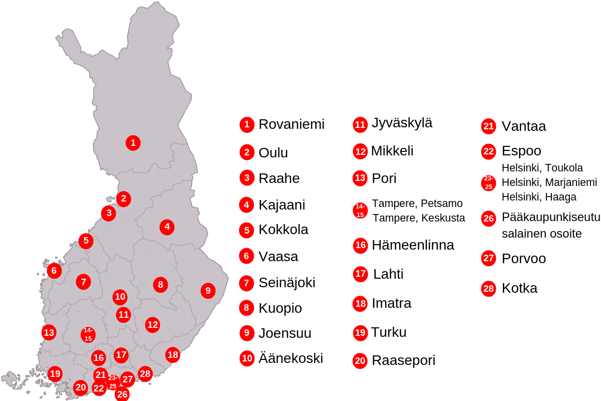 Turvakotien sijainnit Suomessa