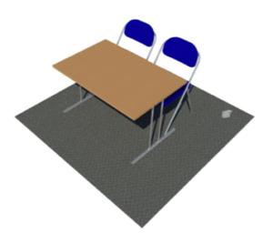 Pöytäpaikka kahdella tuolilla.