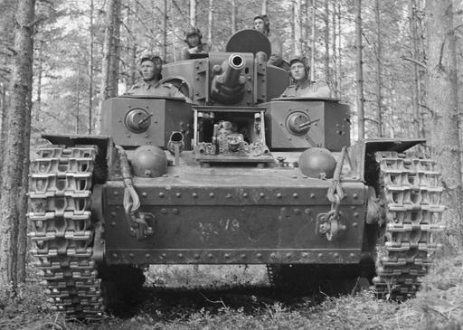 WWII --- Finnish soldiers in a captured Russian T-28 multi-turreted tank (The Winter War ...
