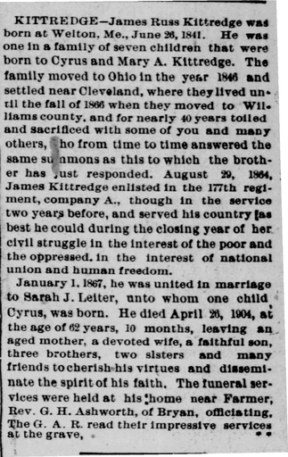 Defiance County, Ohio Genealogy: James R. Kittredge - Civil War Soldier Buried in Farmer Cemetery