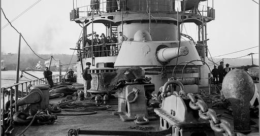 Vintage photographs of battleships, battlecruisers and cruisers.: On the deck of the French ...