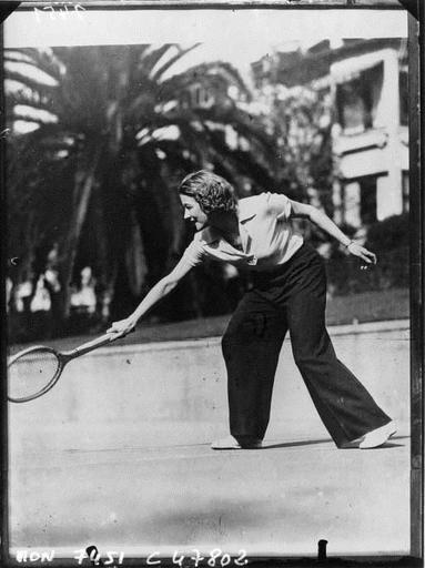 Greta Nissen, Swedish actress, playing tennis by Acmé, 1933. National Library of France, Public ...