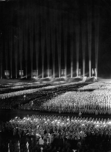 The Cathedral of Light of the Nazi rallies, 1937
