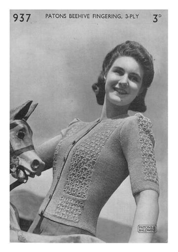 PDF Vintage Knitting Pattern Patons 937 Ladies Fitted Cardigan with Textured Panels in 3 ply