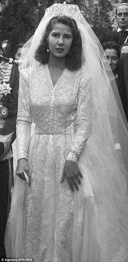 The 18th Duchess of Alba pictured at her marriage to Don Pedro Luis Martines de Irujo in 1947 ...