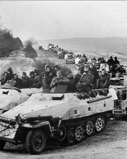 Sd.Kfz. 251/1 Ausf. D mittlere Schützenpanzerwagen, A column of armored unit of the Waffen-SS ...