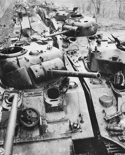 Wrecked US M4 Sherman Tanks at Ordnance Depot in France 1945 | World War Photos
