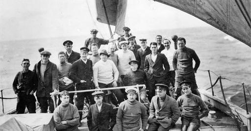 The crew of the Endurance poses with Shackleton on board ship | Antarctica |  | Irish ...