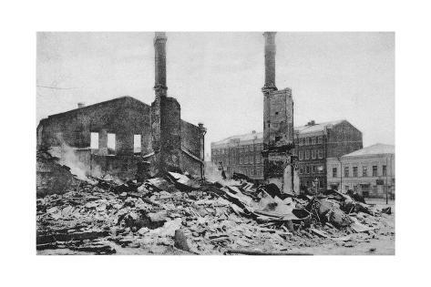 Destruction on a Moscow Street after the Revolution, Russia, December 1905 Giclee Print at ...