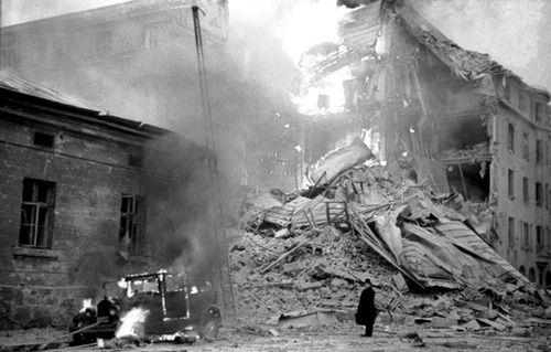 A building on fire from Soviet aerial bombing in Helsinki, Finland - 30th of November 1939 ...