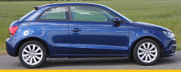 Audi A1 hatchback in blue